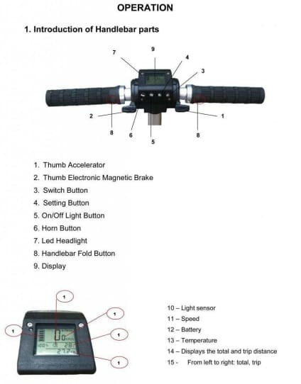 E-Twow S2 Booster Display and Controls Diagram