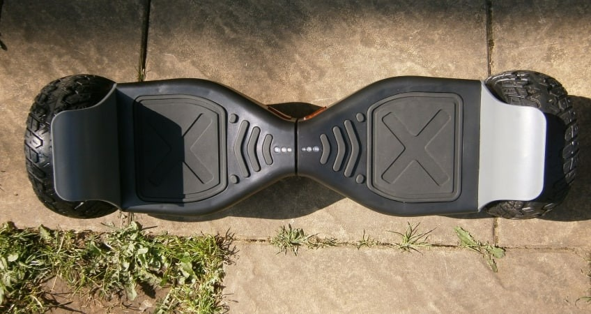 Off-road hoverboard top view showing foot pads and battery indicator lights