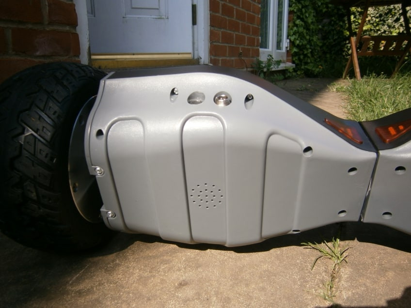 Underside Of The Off-road hoverboard with it's sturdy PVA plastic casing