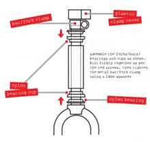 Stompee Balance Bikes Fork and Handlebar Assembly Diagram