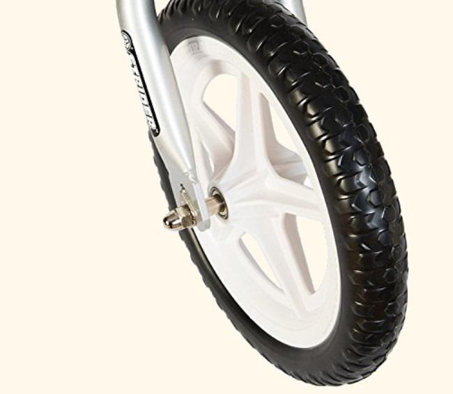 Strider 12 Pro Balance Bike Review Front Wheel Detail