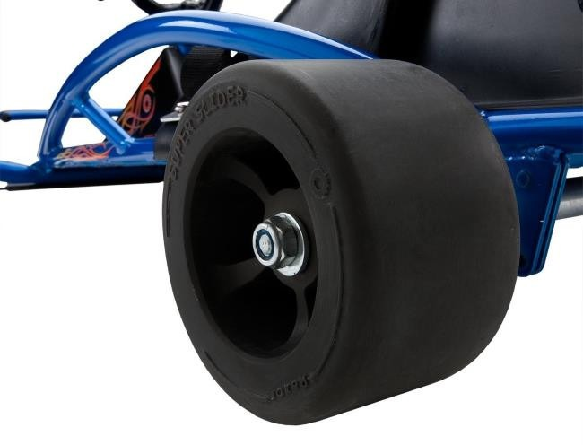 Rear Wheel And Tire of The Razor Ground Force Drifter Kart Close-Up